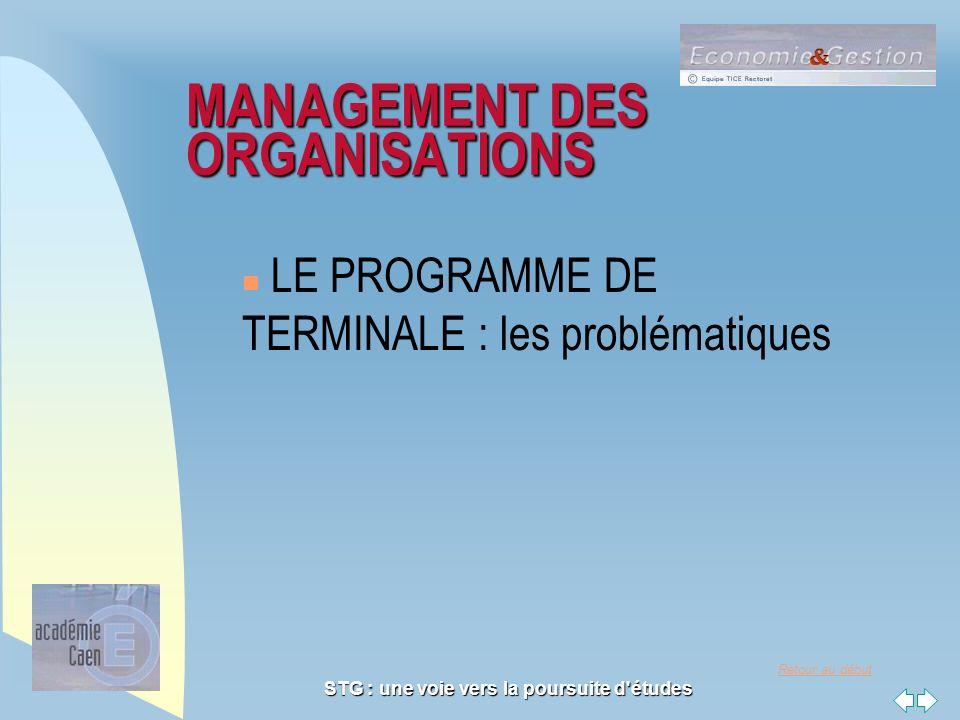 Retour au début STG : une voie vers la poursuite d'études MANAGEMENT DES ORGANISATIONS n LE PROGRAMME DE TERMINALE : les problématiques