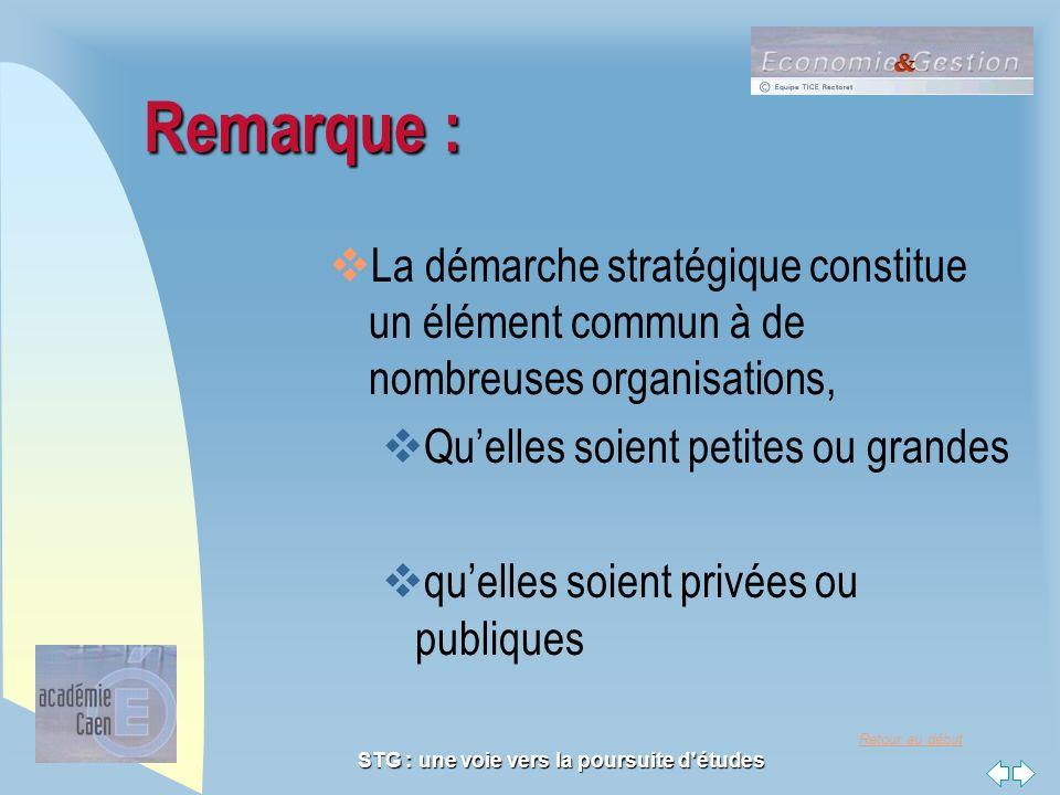 Retour au début STG : une voie vers la poursuite d'études Remarque : La démarche stratégique constitue un élément commun à de nombreuses organisations