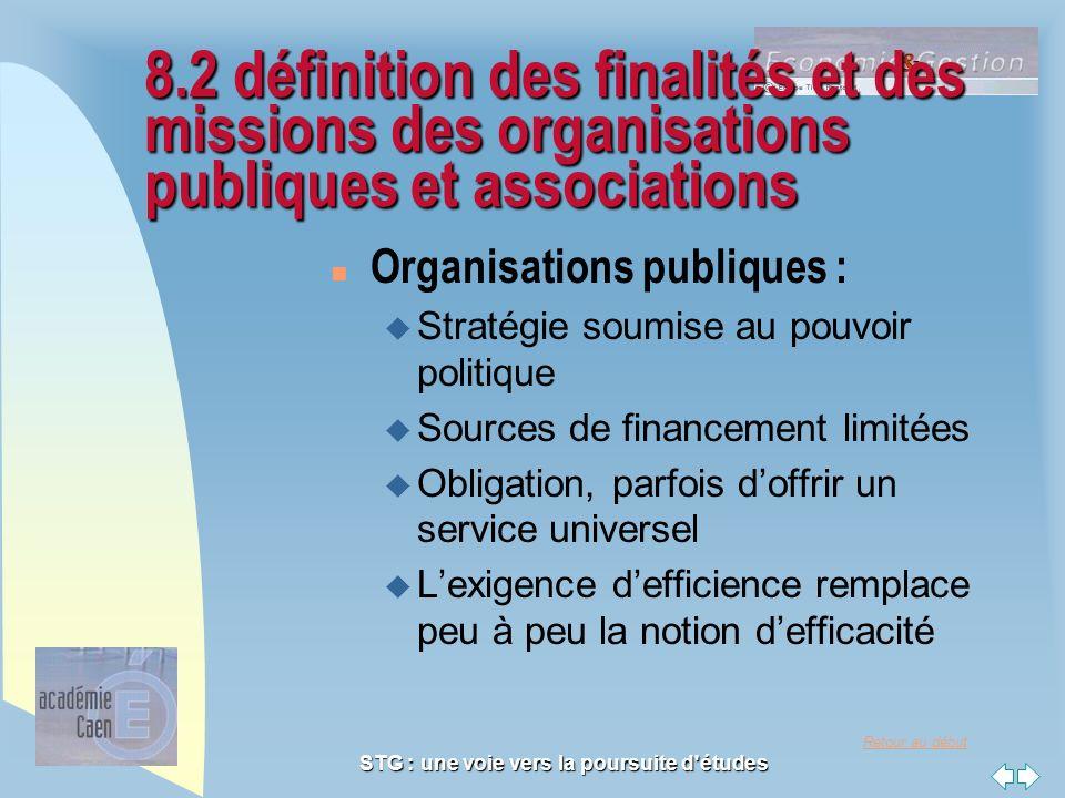 Retour au début STG : une voie vers la poursuite d'études 8.2 définition des finalités et des missions des organisations publiques et associations n O