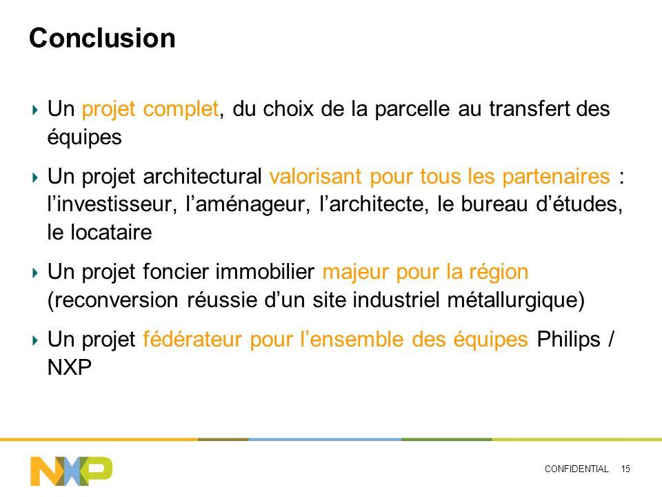 CONFIDENTIAL 15 Conclusion Un projet complet, du choix de la parcelle au transfert des équipes Un projet architectural valorisant pour tous les parten