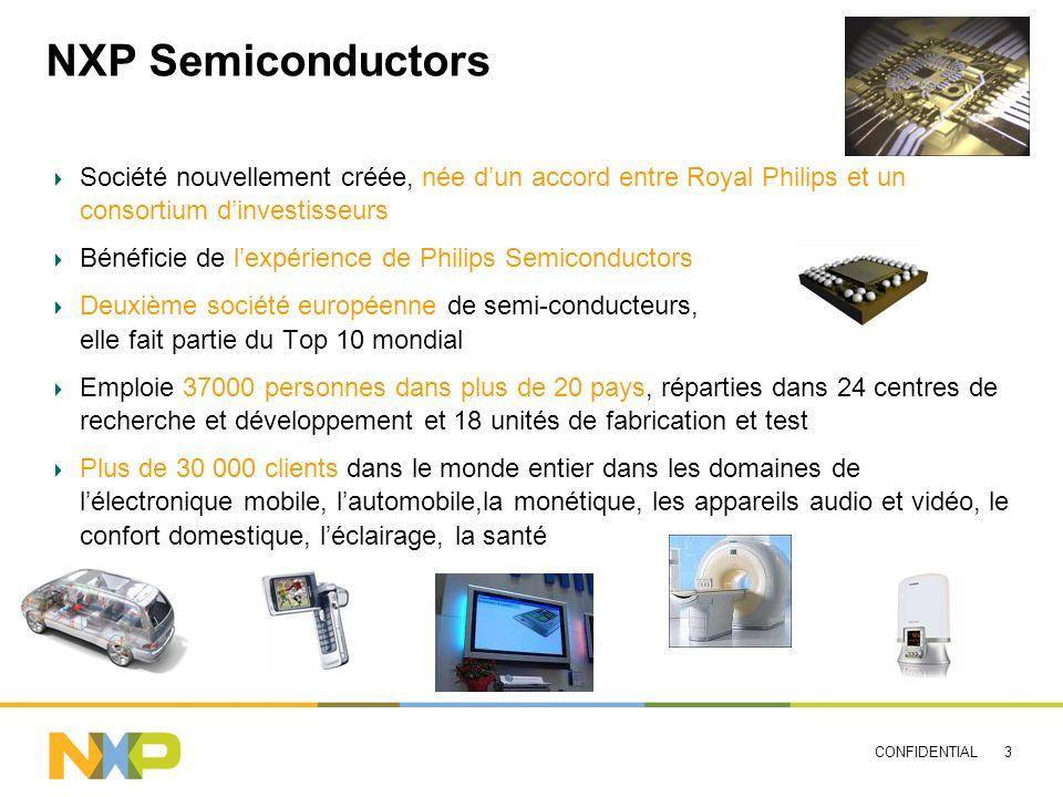 CONFIDENTIAL 3 NXP Semiconductors Société nouvellement créée, née dun accord entre Royal Philips et un consortium dinvestisseurs Bénéficie de lexpérie