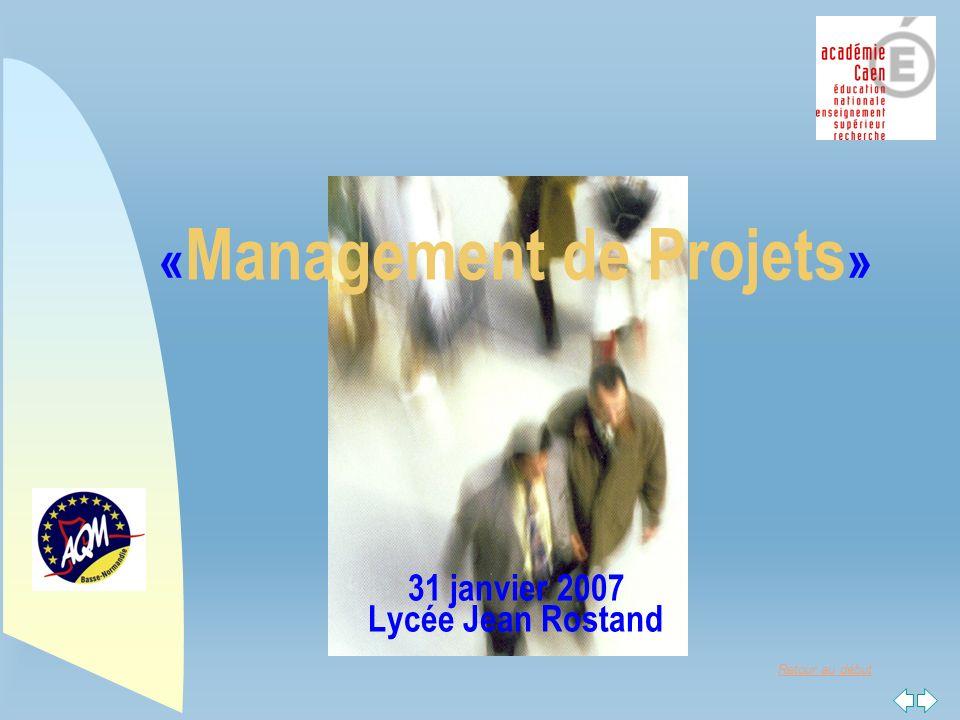 Retour au début « Management de Projets » 31 janvier 2007 Lycée Jean Rostand