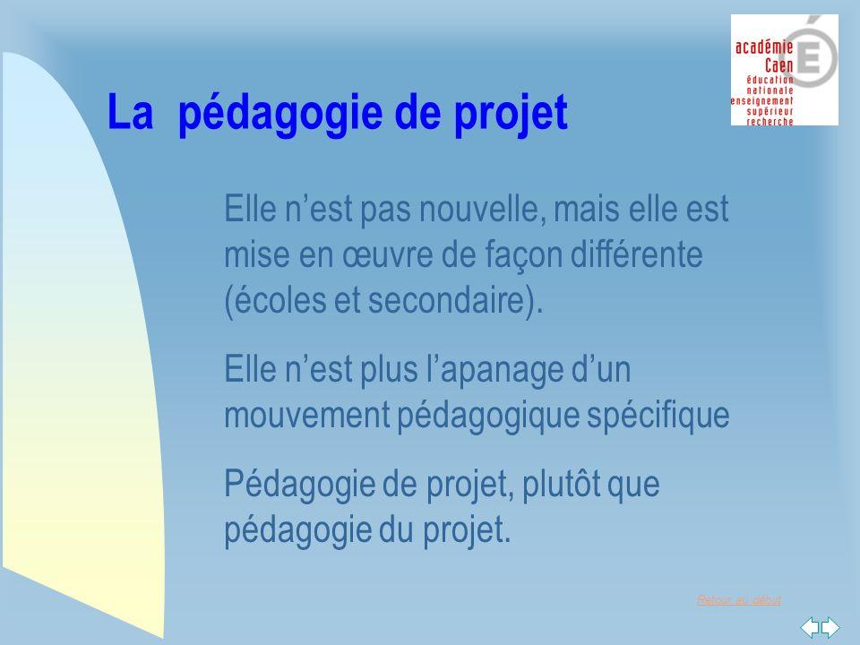 Retour au début La pédagogie de projet Elle nest pas nouvelle, mais elle est mise en œuvre de façon différente (écoles et secondaire).