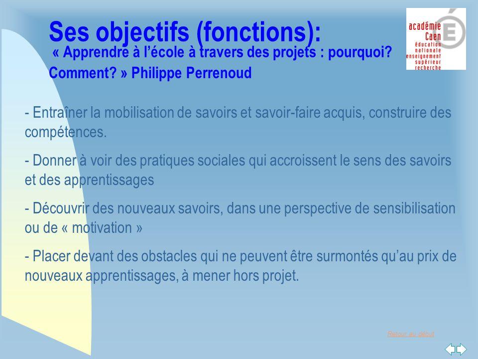 Retour au début Ses objectifs (fonctions) : « Apprendre à lécole à travers des projets : pourquoi.