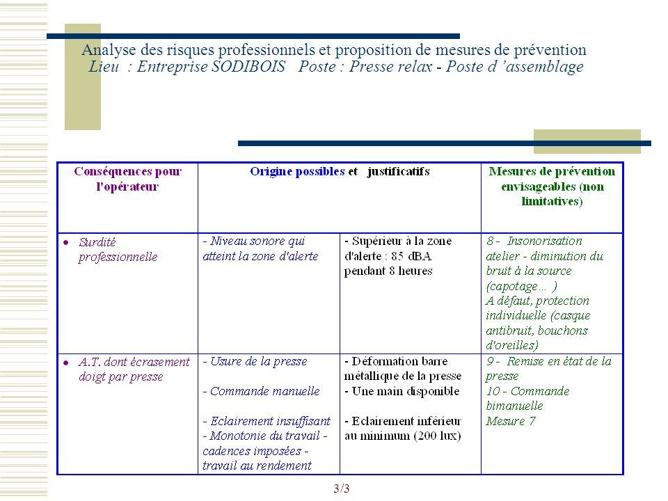 2/3 Analyse des risques professionnels et proposition de mesures de prévention Lieu : Entreprise SODIBOIS Poste : Presse relax - Poste d assemblage
