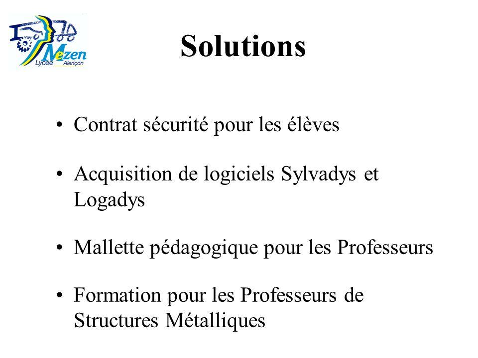 Contrat sécurité pour les élèves Acquisition de logiciels Sylvadys et Logadys Mallette pédagogique pour les Professeurs Formation pour les Professeurs de Structures Métalliques