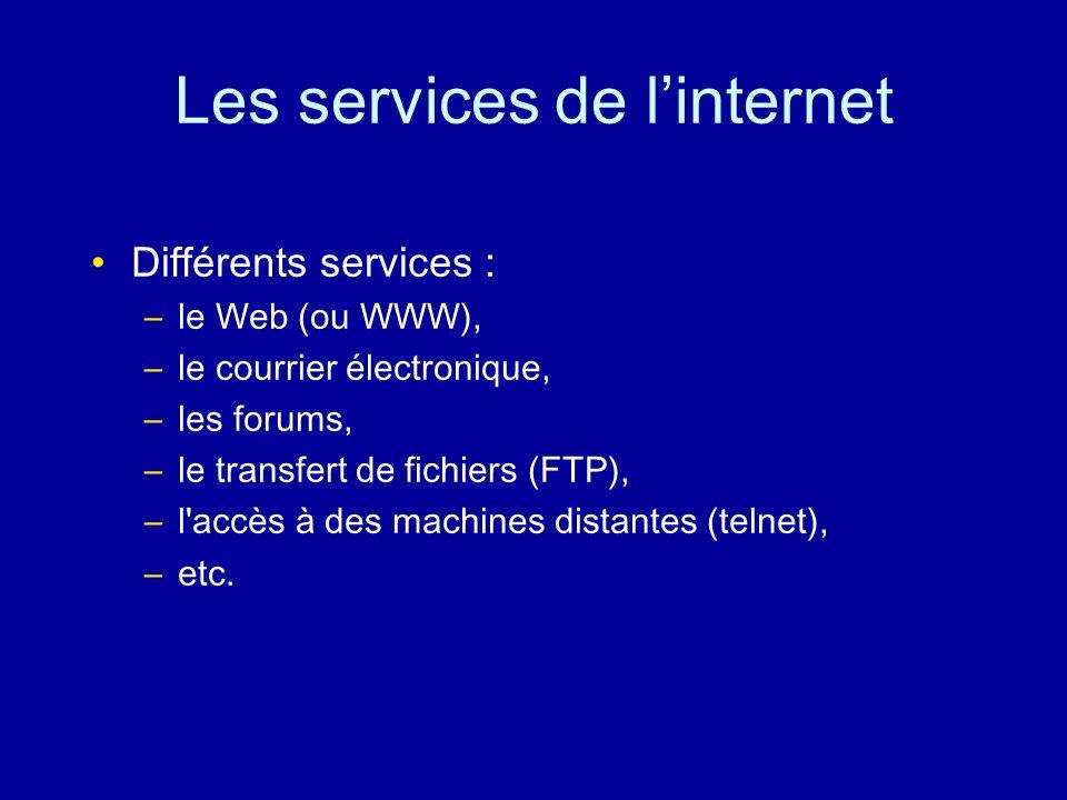 Internet Un réseau virtuel qui assure l interconnexion des différents réseaux physiques par l intermédiaire de passerelles.