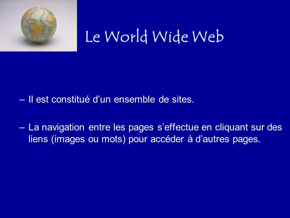 Les services de linternet Différents services : –le Web (ou WWW), –le courrier électronique, –les forums, –le transfert de fichiers (FTP), –l accès à des machines distantes (telnet), –etc.