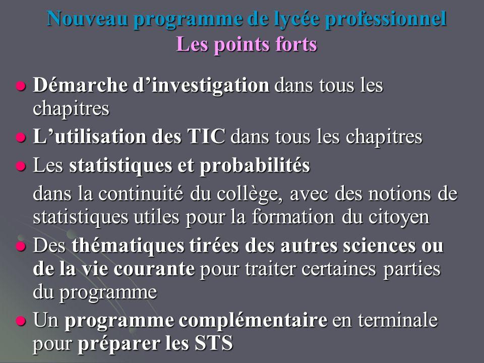 Nouveau programme de lycée professionnel Les points forts Démarche dinvestigation dans tous les chapitres Démarche dinvestigation dans tous les chapit