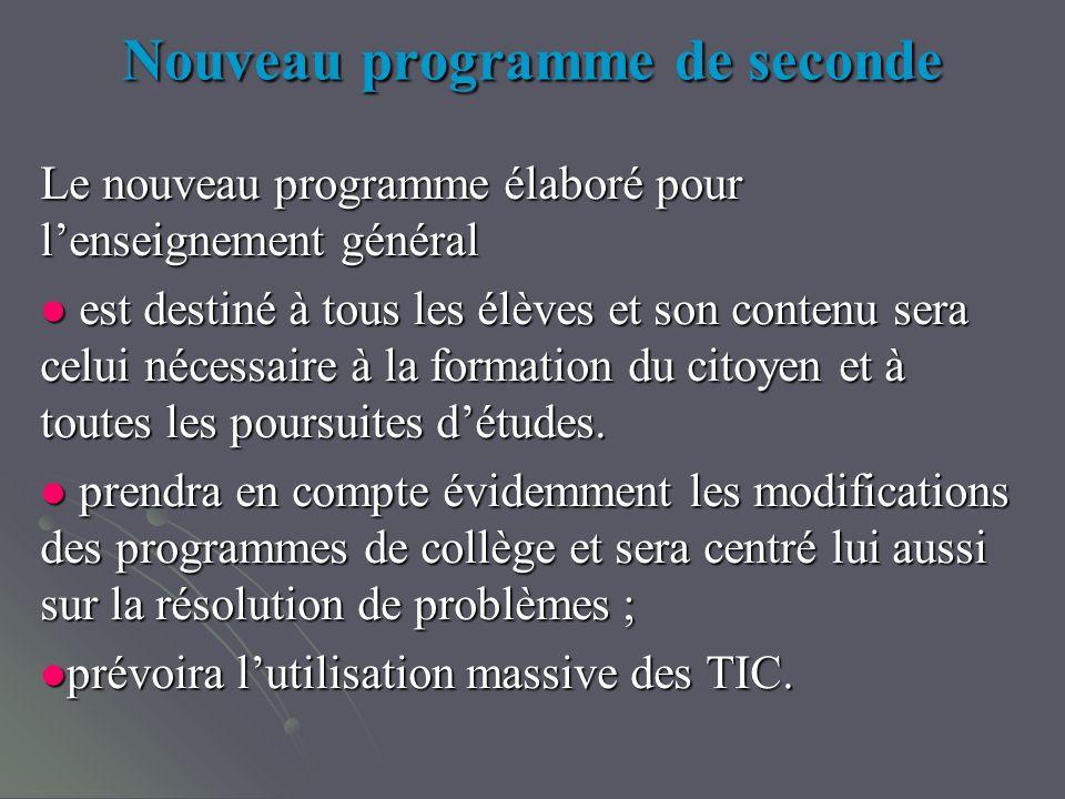 Nouveau programme de seconde Le nouveau programme élaboré pour lenseignement général est destiné à tous les élèves et son contenu sera celui nécessaire à la formation du citoyen et à toutes les poursuites détudes.
