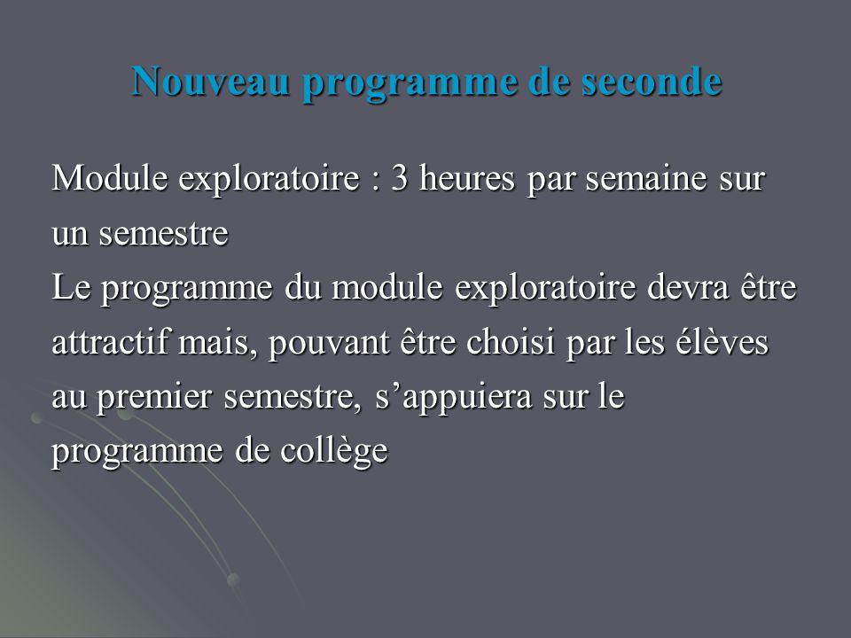 Nouveau programme de seconde Module exploratoire : 3 heures par semaine sur un semestre Le programme du module exploratoire devra être attractif mais, pouvant être choisi par les élèves au premier semestre, sappuiera sur le programme de collège