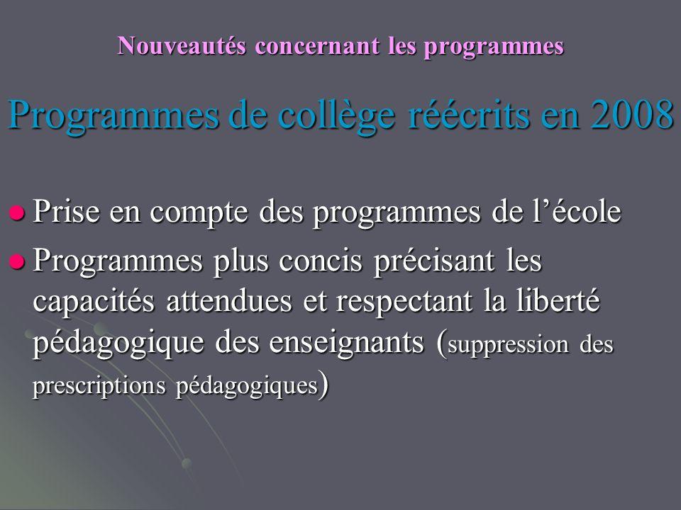 Nouveautés concernant les programmes Programmes de collège réécrits en 2008 Prise en compte des programmes de lécole Prise en compte des programmes de