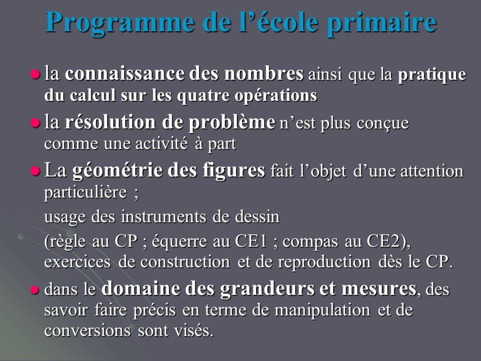 Programme de lécole primaire la connaissance des nombres ainsi que la pratique du calcul sur les quatre opérations la connaissance des nombres ainsi q