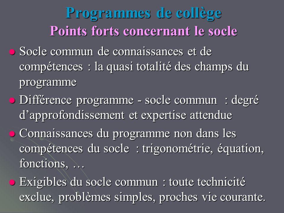 Programmes de collège Points forts concernant le socle Socle commun de connaissances et de compétences : la quasi totalité des champs du programme Soc