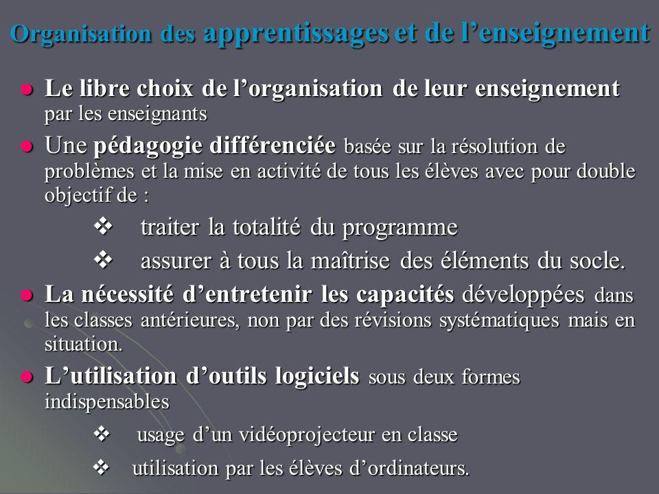 Organisation des apprentissages et de lenseignement Le libre choix de lorganisation de leur enseignement par les enseignants Le libre choix de lorgani