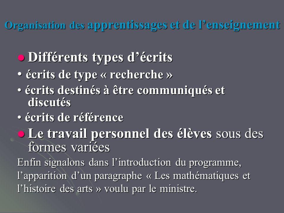 Organisation des apprentissages et de lenseignement Différents types décrits Différents types décrits écrits de type « recherche » écrits de type « re