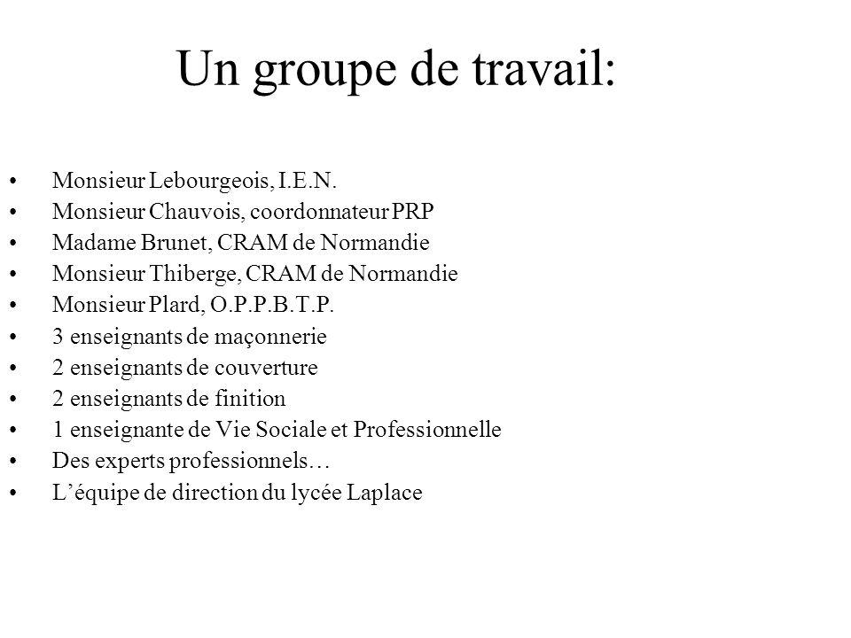 Un groupe de travail: Monsieur Lebourgeois, I.E.N. Monsieur Chauvois, coordonnateur PRP Madame Brunet, CRAM de Normandie Monsieur Thiberge, CRAM de No