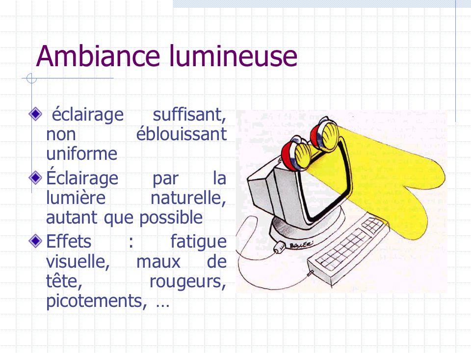 Ambiance lumineuse éclairage suffisant, non éblouissant uniforme Éclairage par la lumière naturelle, autant que possible Effets : fatigue visuelle, ma