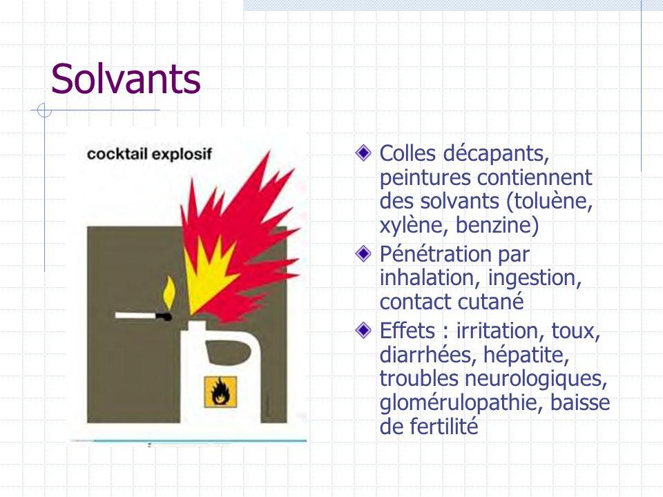Solvants Colles décapants, peintures contiennent des solvants (toluène, xylène, benzine) Pénétration par inhalation, ingestion, contact cutané Effets