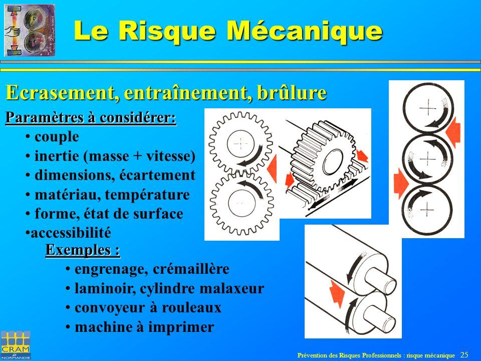 Prévention des Risques Professionnels : risque mécanique 25 Le Risque Mécanique Ecrasement, entraînement, brûlure Paramètres à considérer: couple inertie (masse + vitesse) dimensions, écartement matériau, température forme, état de surface accessibilité Exemples : engrenage, crémaillère laminoir, cylindre malaxeur convoyeur à rouleaux machine à imprimer