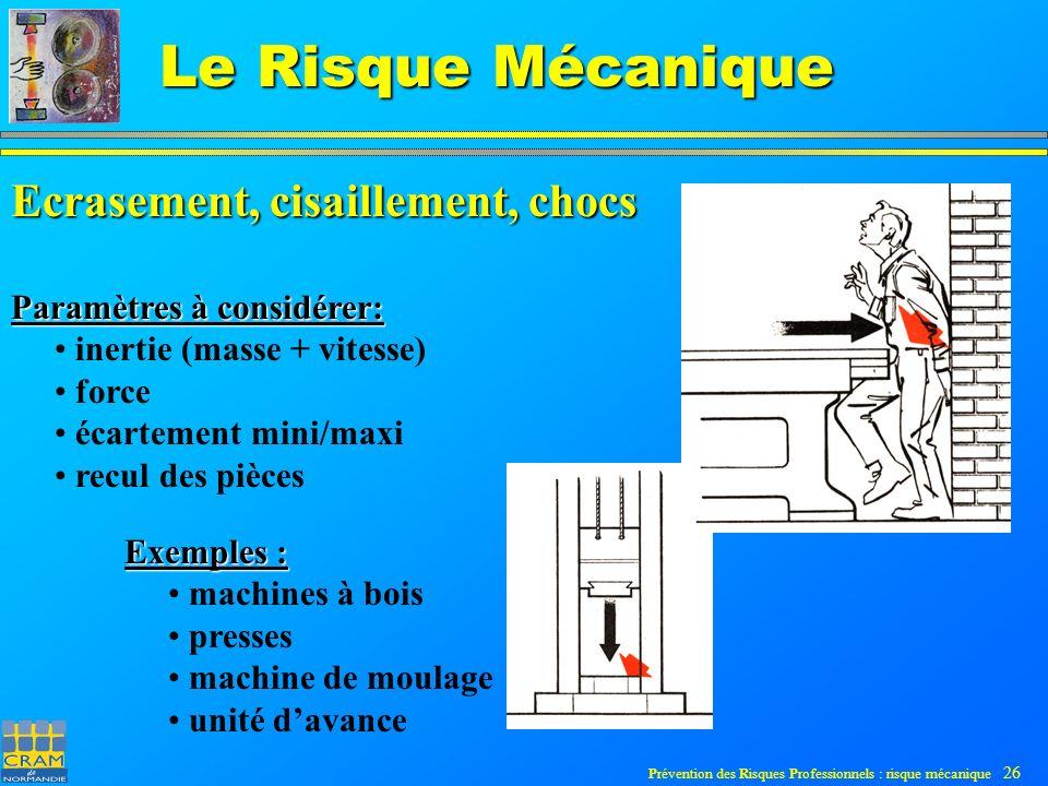 Prévention des Risques Professionnels : risque mécanique 26 Le Risque Mécanique Ecrasement, cisaillement, chocs Paramètres à considérer: inertie (masse + vitesse) force écartement mini/maxi recul des pièces Exemples : machines à bois presses machine de moulage unité davance