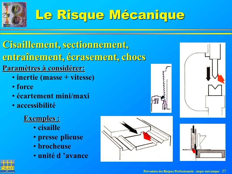 Prévention des Risques Professionnels : risque mécanique 27 Le Risque Mécanique Cisaillement, sectionnement, entraînement, écrasement, chocs Paramètres à considérer: inertie (masse + vitesse) force écartement mini/maxi accessibilité Exemples : cisaille presse plieuse brocheuse unité d avance
