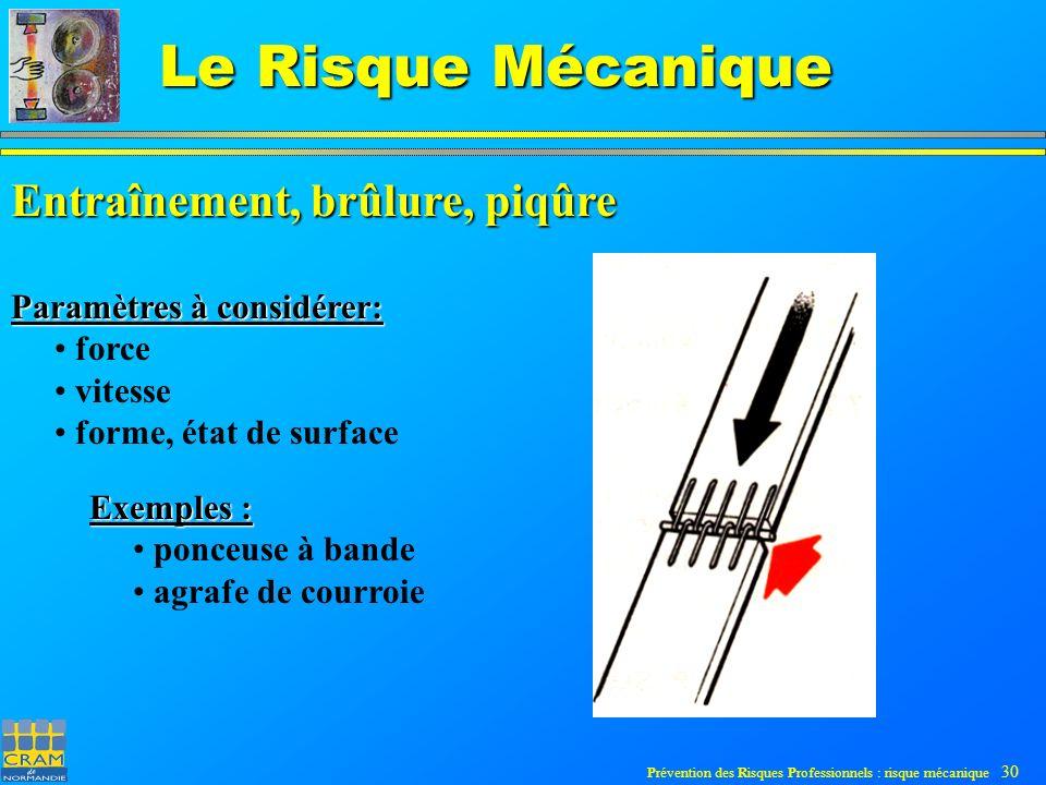 Prévention des Risques Professionnels : risque mécanique 30 Le Risque Mécanique Entraînement, brûlure, piqûre Paramètres à considérer: force vitesse forme, état de surface Exemples : ponceuse à bande agrafe de courroie