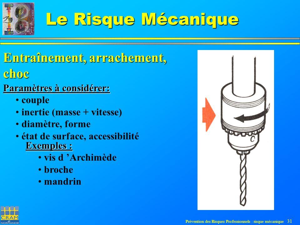 Prévention des Risques Professionnels : risque mécanique 31 Le Risque Mécanique Entraînement, arrachement, choc Paramètres à considérer: couple inertie (masse + vitesse) diamètre, forme état de surface, accessibilité Exemples : vis d Archimède broche mandrin
