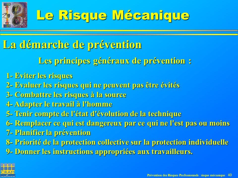 Prévention des Risques Professionnels : risque mécanique 40 Le Risque Mécanique 1- Eviter les risques 2- Evaluer les risques qui ne peuvent pas être évités 3- Combattre les risques à la source 4- Adapter le travail à l homme 5- Tenir compte de l état d évolution de la technique 6- Remplacer ce qui est dangereux par ce qui ne l est pas ou moins 7- Planifier la prévention 8- Priorité de la protection collective sur la protection individuelle 9- Donner les instructions appropriées aux travailleurs.