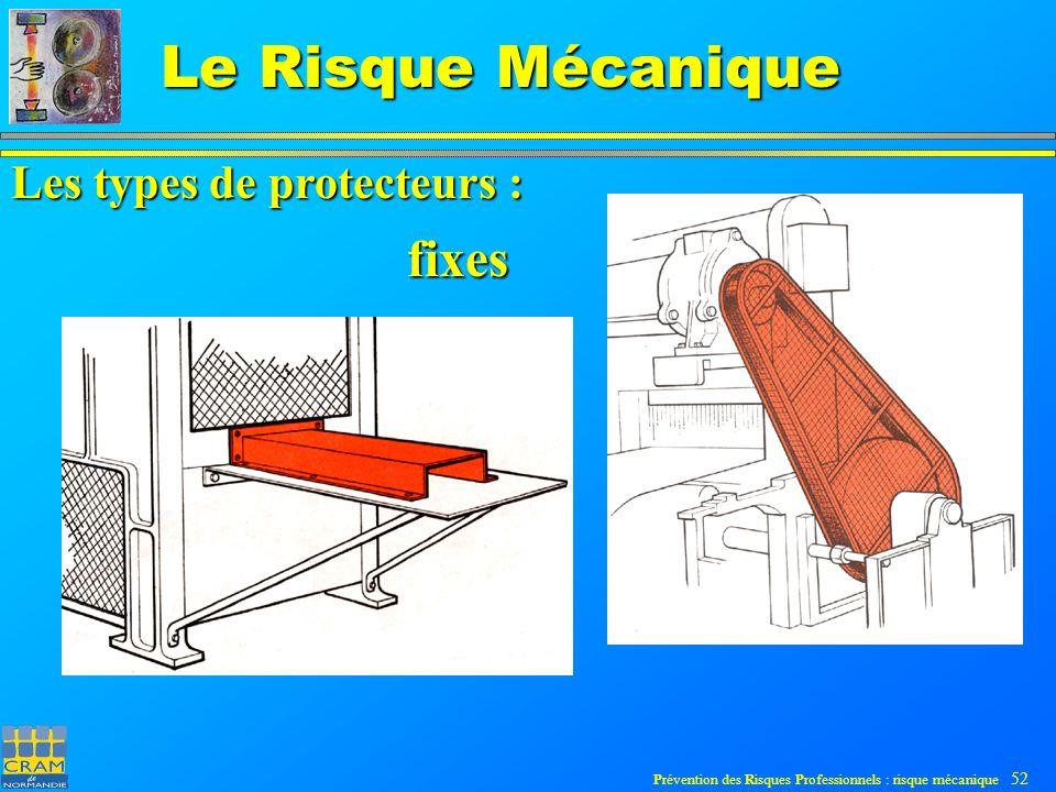 Prévention des Risques Professionnels : risque mécanique 52 Le Risque Mécanique fixes Les types de protecteurs :