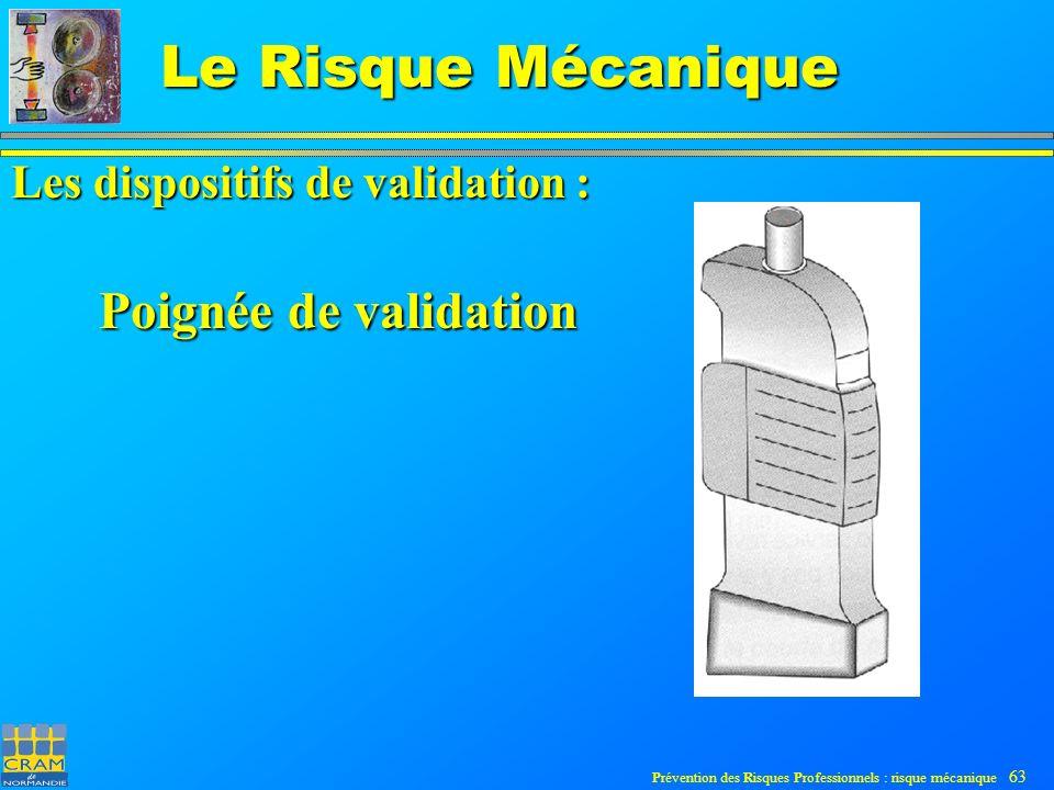 Prévention des Risques Professionnels : risque mécanique 63 Le Risque Mécanique Poignée de validation Les dispositifs de validation :