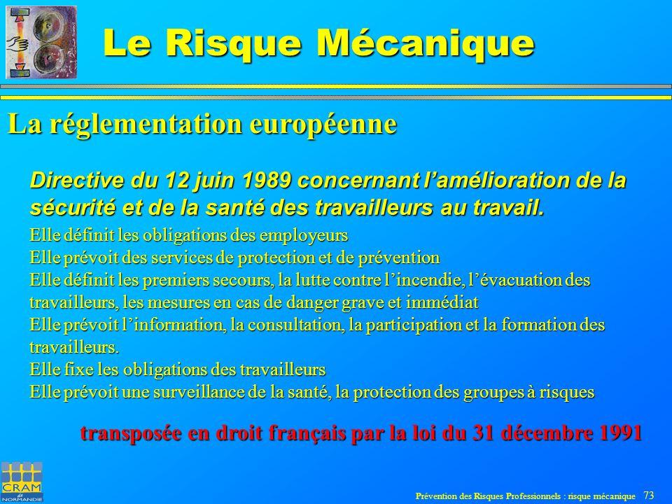 Prévention des Risques Professionnels : risque mécanique 73 Le Risque Mécanique Directive du 12 juin 1989 concernant lamélioration de la sécurité et de la santé des travailleurs au travail.