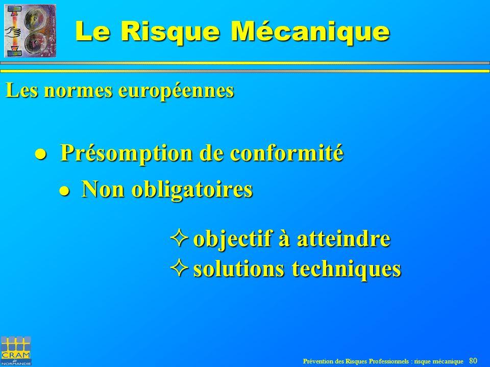 Prévention des Risques Professionnels : risque mécanique 80 Le Risque Mécanique Présomption de conformité Présomption de conformité Non obligatoires Non obligatoires Les normes européennes objectif à atteindre objectif à atteindre solutions techniques solutions techniques