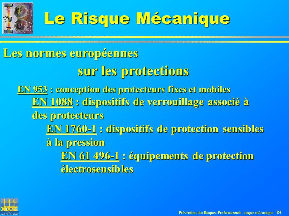 Prévention des Risques Professionnels : risque mécanique 84 Le Risque Mécanique EN 953 : conception des protecteurs fixes et mobiles EN 1088 : dispositifs de verrouillage associé à des protecteurs EN 1760-1 : dispositifs de protection sensibles à la pression EN 61 496-1 : équipements de protection électrosensibles sur les protections Les normes européennes
