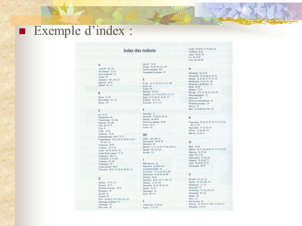 Exemple dindex :
