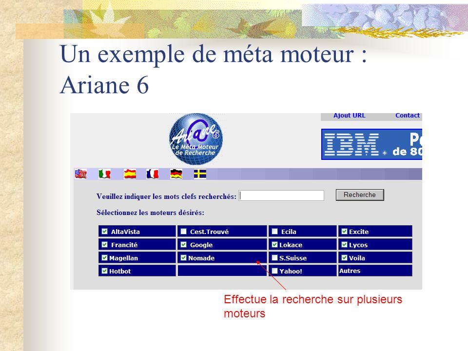 Un exemple de méta moteur : Ariane 6 Effectue la recherche sur plusieurs moteurs