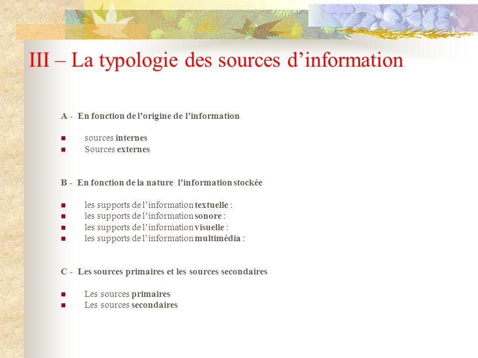 III – La typologie des sources dinformation A - En fonction de lorigine de linformation sources internes Sources externes B - En fonction de la nature