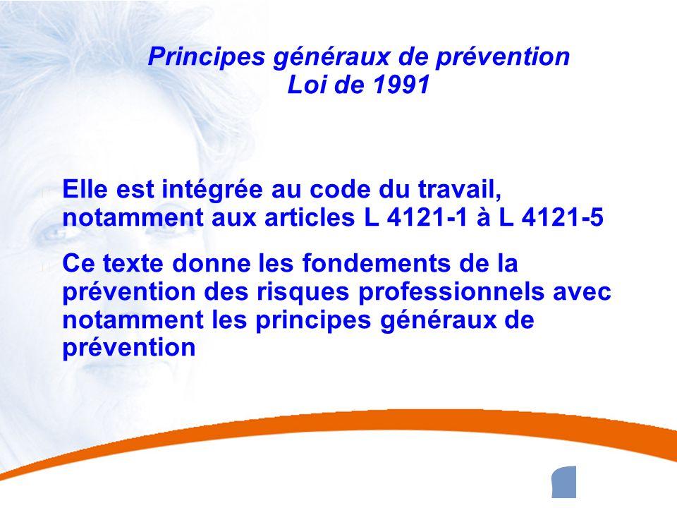 19 19 Principes généraux de prévention Loi de 1991 u Elle est intégrée au code du travail, notamment aux articles L 4121-1 à L 4121-5 u Ce texte donne