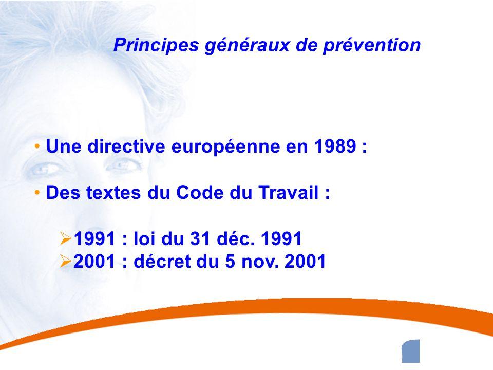 2 2 Principes généraux de prévention Une directive européenne en 1989 : Des textes du Code du Travail : 1991 : loi du 31 déc. 1991 2001 : décret du 5