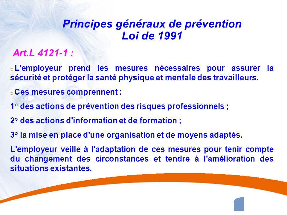 20 20 Principes généraux de prévention Loi de 1991 Art.L 4121-1 : u L'employeur prend les mesures nécessaires pour assurer la sécurité et protéger la