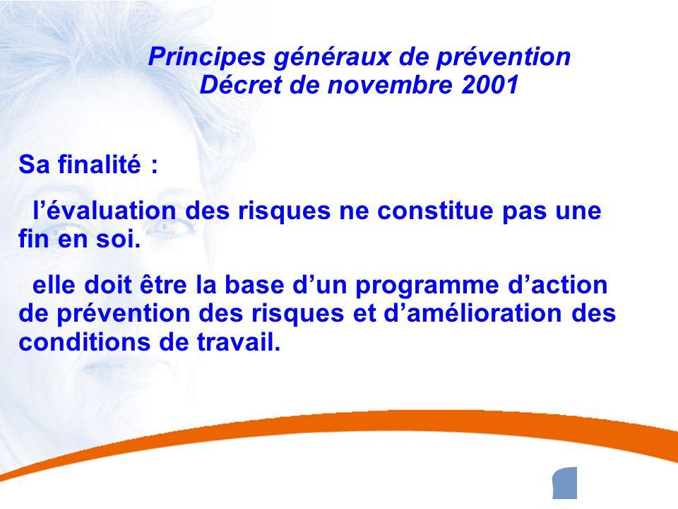 24 24 Principes généraux de prévention Décret de novembre 2001 Sa finalité : u lévaluation des risques ne constitue pas une fin en soi. u elle doit êt
