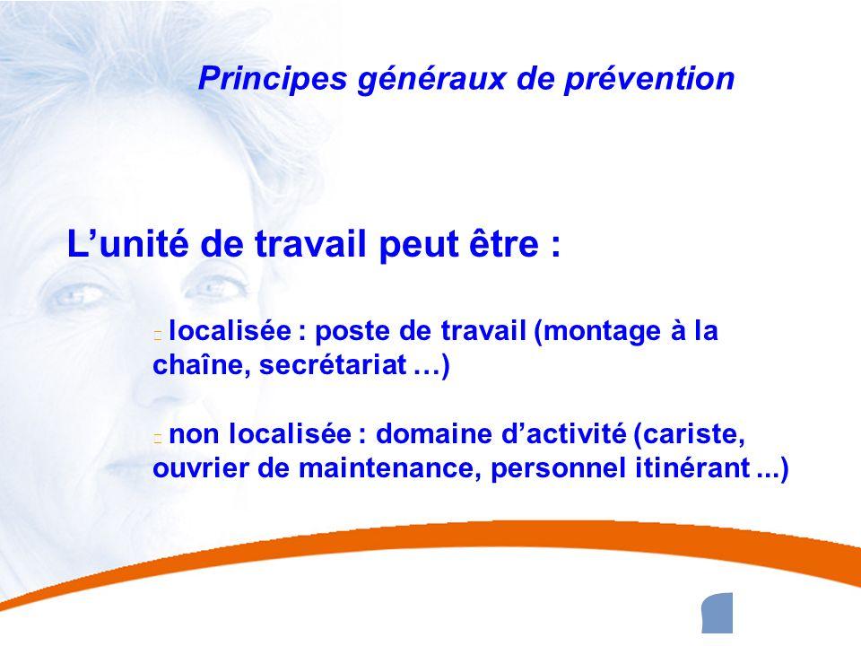 28 28 Principes généraux de prévention Lunité de travail peut être : u localisée : poste de travail (montage à la chaîne, secrétariat …) u non localis