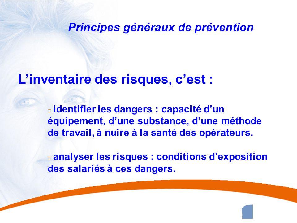 29 29 Principes généraux de prévention Linventaire des risques, cest : u identifier les dangers : capacité dun équipement, dune substance, dune méthod