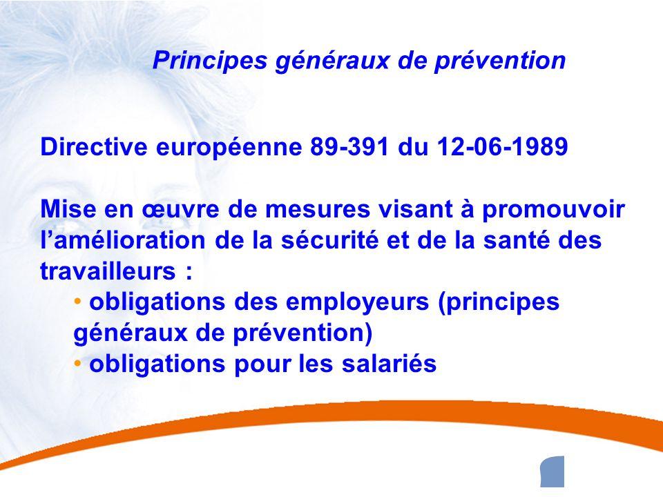 3 3 Principes généraux de prévention Directive européenne 89-391 du 12-06-1989 Mise en œuvre de mesures visant à promouvoir lamélioration de la sécuri
