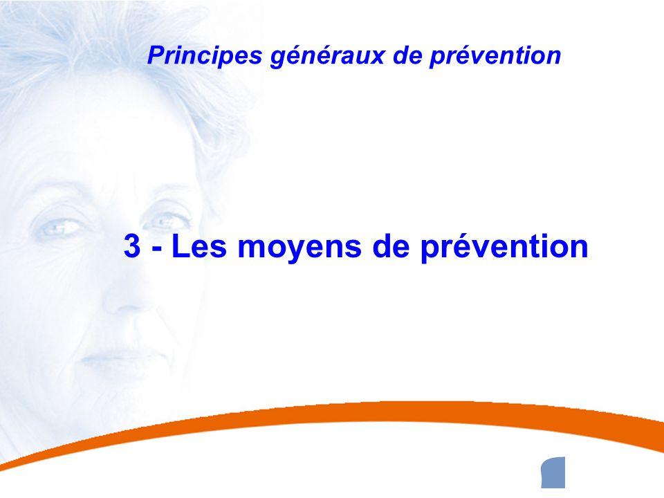 31 31 Principes généraux de prévention 3 - Les moyens de prévention