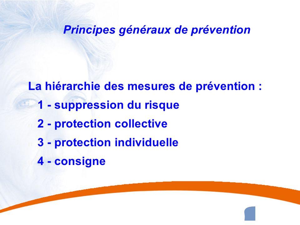 33 33 Principes généraux de prévention La hiérarchie des mesures de prévention : u 1 - suppression du risque u 2 - protection collective u 3 - protect