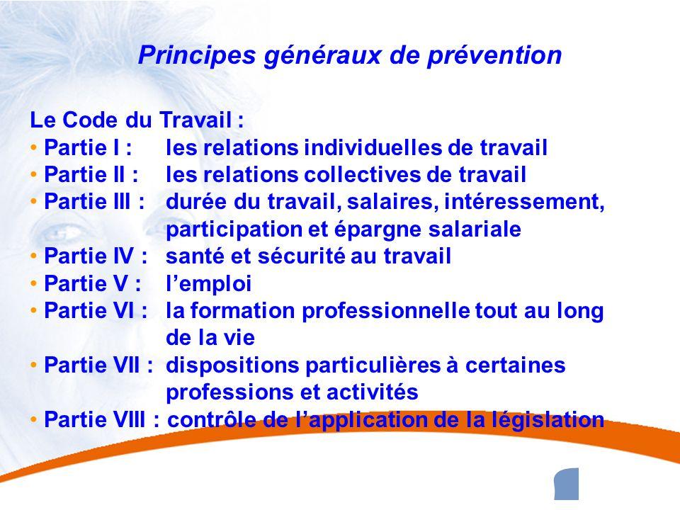 4 4 Principes généraux de prévention Le Code du Travail : Partie I : les relations individuelles de travail Partie II : les relations collectives de t