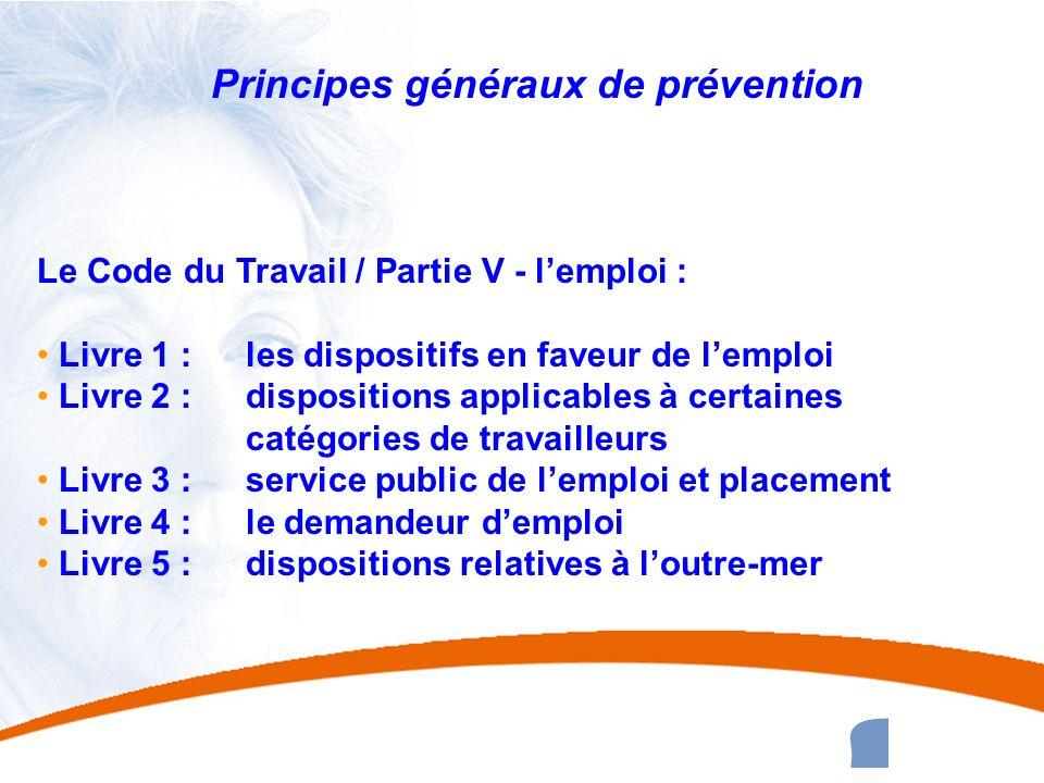 9 9 Principes généraux de prévention Le Code du Travail / Partie V - lemploi : Livre 1 : les dispositifs en faveur de lemploi Livre 2 : dispositions a