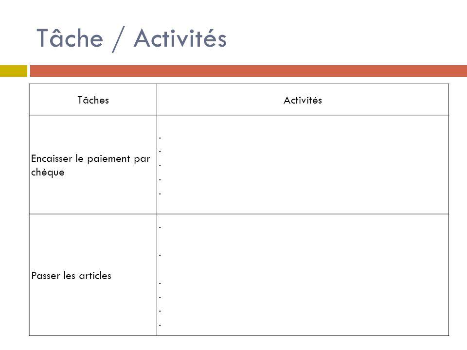 Tâche / Activités TâchesActivités Encaisser le paiement par chèque - vérifier le chèque écrit - demander pièces identité - vérifier validité pièce, nom etc.