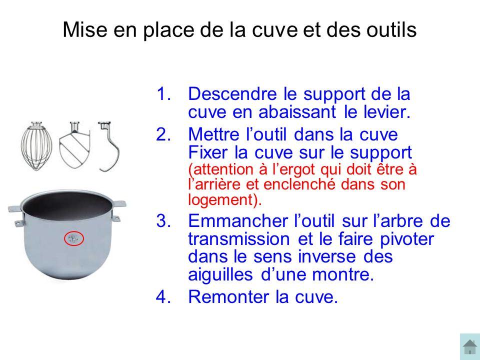 Mise en place de la cuve et des outils 1.Descendre le support de la cuve en abaissant le levier.